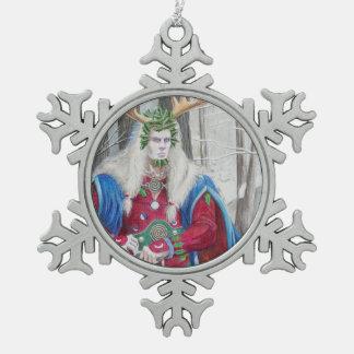 Rey Yule Ornament del acebo Adorno De Peltre En Forma De Copo De Nieve