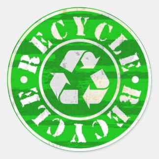 Reycling Grunge Classic Round Sticker