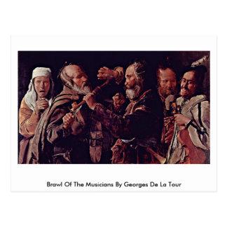 Reyerta de los músicos de Georges de La Tour Tarjetas Postales