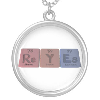 Reyes as Rhenium Yttrium Einsteinium Round Pendant Necklace