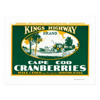 Reyes Highway Brand Cranberry Label de Boston Postal