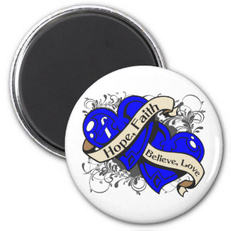 Reye's Syndrome Hope Faith Dual Hearts 2 Inch Round Magnet
