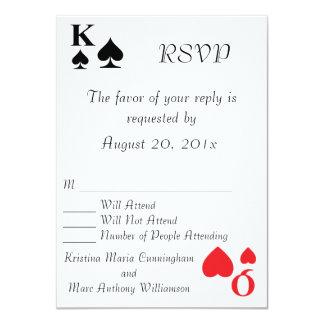 Reyes y invitación de RSVP del naipe del Queens
