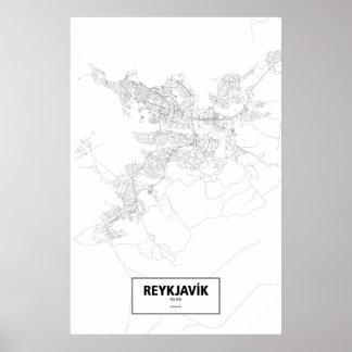 Reykjavik, Iceland (black on white) Poster
