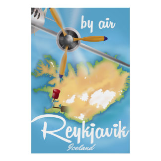 Reykjavik, Iceland holiday travel poster