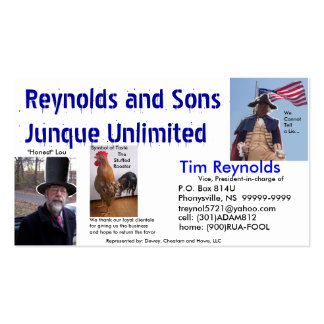 Reynolds&Sons Junque Unlimited Bidnis Card Business Card
