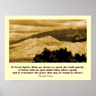 Rezo cherokee con paisaje póster