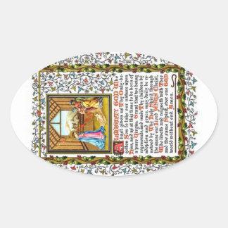 Rezo cristiano con natividad pegatina ovalada