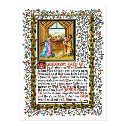 Rezo cristiano con natividad tarjetas postales