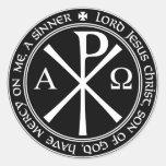Rezo de Jesús con el Ji-ro blanco y negro en Etiquetas Redondas