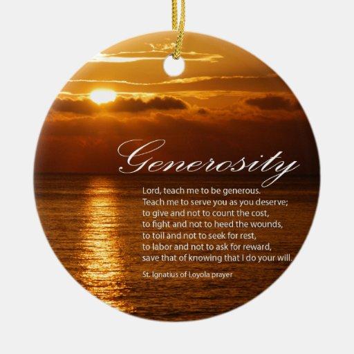 Rezo de la generosidad adorno redondo de cerámica