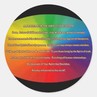 Rezo de la honradez pegatina redonda