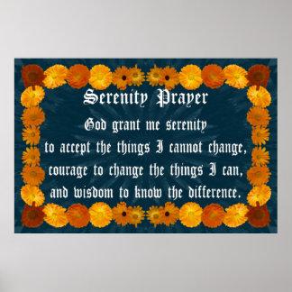 Rezo de la serenidad con el marco del Calendula Poster