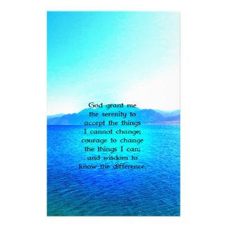 Rezo de la serenidad con el océano azul y el cielo papelería