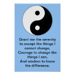 Rezo de la serenidad de Yin Yang Póster