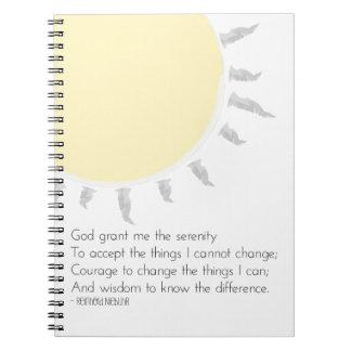 Rezo de la serenidad del diario de la gratitud libretas espirales