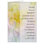Rezo de la serenidad en tarjeta española del iris
