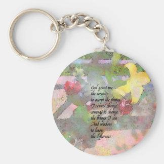 Rezo de la serenidad floral llavero personalizado