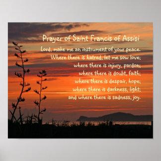 Rezo de los Franciscos de Asís del santo Póster