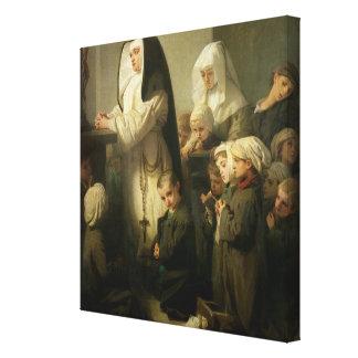 Rezo de los niños que sufren de tiña lona estirada galerías