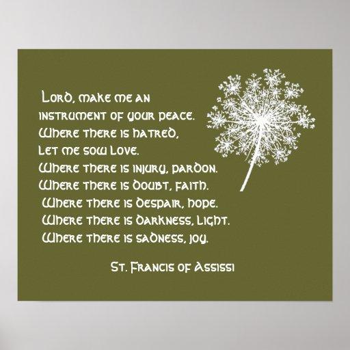 Rezo de St Francis Assissi del cordón de la reina  Poster