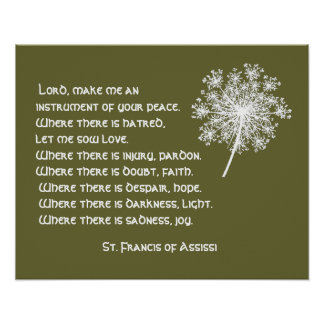 Rezo de St Francis Assissi del cordón de la reina  Póster