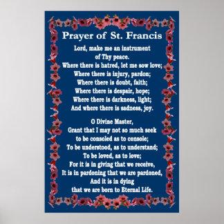 Rezo de St Francis con la frontera de Bell del árb Poster