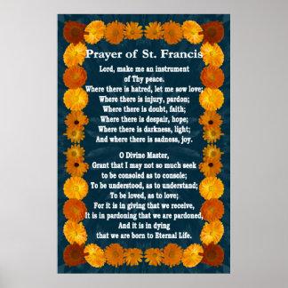 Rezo de St Francis con la frontera del Calendula Impresiones