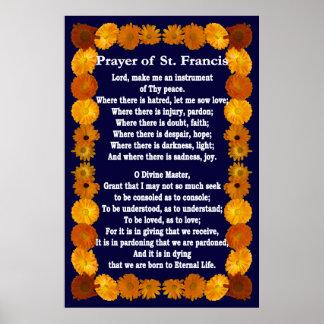 Rezo de St Francis con la frontera del Calendula Poster