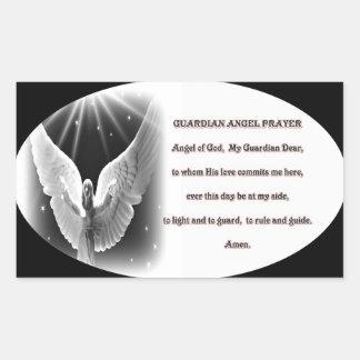 rezo del ángel de guarda pegatina rectangular