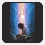Rezo del ángel colcomanias cuadradas personalizadas