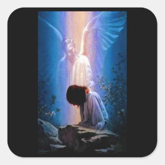 Rezo del ángel pegatina cuadrada