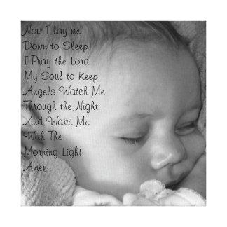 Rezo del bebé impresión en lienzo estirada