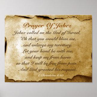Rezo del poster del verso de la biblia de Jabez