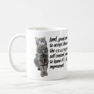 Rezo divertido de la serenidad con los gatos taza de café
