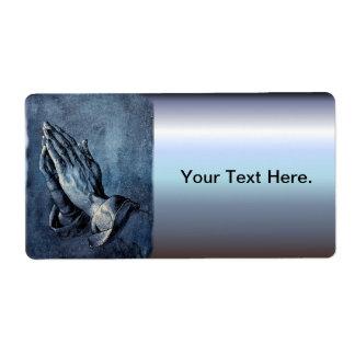 Rezo doblado de las manos - Durer Etiquetas De Envío