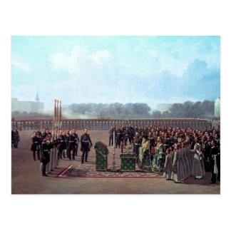 Rezo durante el desfile del regimiento de postal