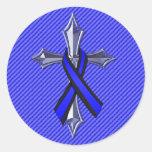 Rezo fino de Blue Line para la cruz y la cinta de Pegatina Redonda