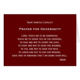 Rezo para la generosidad tarjeta de felicitación