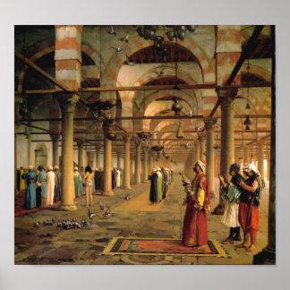 Rezo público en la mezquita del Amr, El Cairo Póster