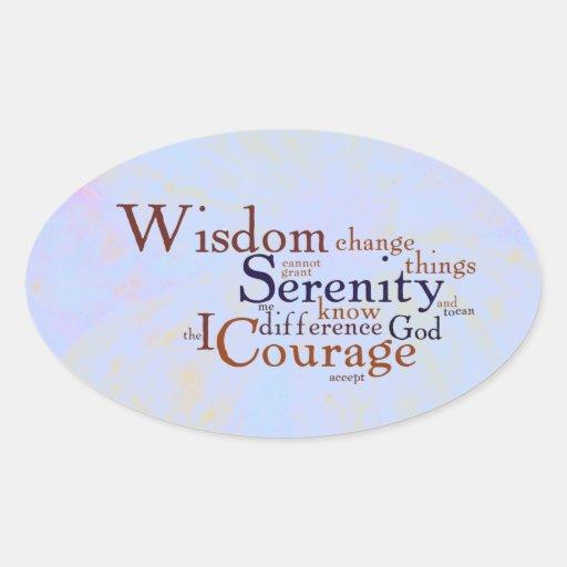 Rezo Wordle de la serenidad en extracto Pegatina Ovalada