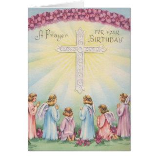 Rezos del cumpleaños de ángeles tarjeta de felicitación