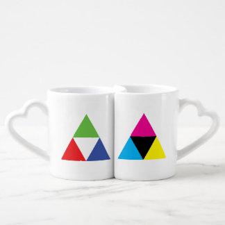 RGB and CMYK Triangle Designer Love Couples' Coffee Mug Set
