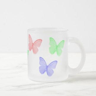 RGB Buttefly 10 Oz Frosted Glass Coffee Mug