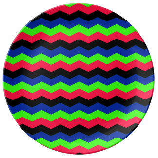 RGB Chevron Porcelain Plates