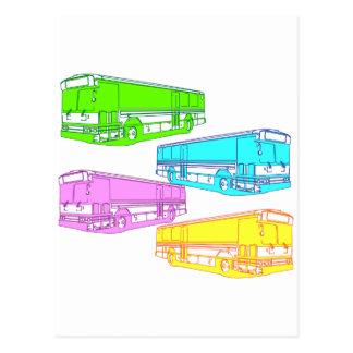 RGB Pop Buses Postcard