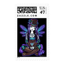 rhapsody, gothic, absinthe, fairy, art, postage, faery, faerie, fae, pixie, top, hat, flower, cute, myka, jelina, mika, big, eyed, cocktail, fantasy, steampunk, spirits, Stamp with custom graphic design