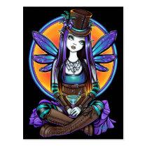 rhapsody, gothic, steampunk, absinthe, fairy, art, faery, faerie, fae, pixie, top, hat, flower, cute, myka, jelina, mika, big, eyed, cocktail, fantasy, faeries, Cartão postal com design gráfico personalizado