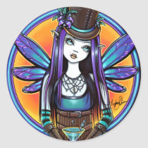 rhapsody, gothic, absinthe, fairy, art, poster, faery, faerie, fae, pixie, top, hat, flower, cute, myka, jelina, mika, big, eyed, cocktail, fantasy, steampunk, spirits, Sticker with custom graphic design