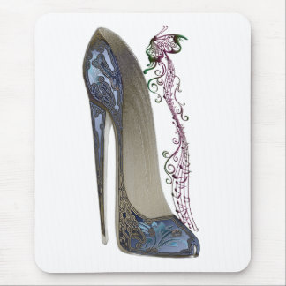 Rhapsody in Blue Stiletto and Butterfly Music Art Mouse Pad